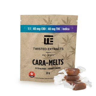 Twisted Extracts Cara-Melts UK | Indica | 1:1 (40mg THC:40mg CBD)